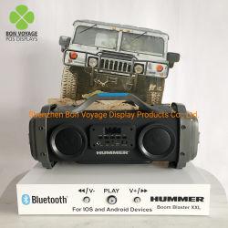 Banco di mostra acrilico su ordinazione dell'altoparlante di Bluetooth con l'audio tasto di controllo del giocatore