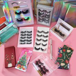 Maquillaje de lujo premium Fake Faux Mink fibra sintética de seda pestañas Cabello Humano Strip conforman las pestañas con Private caso cuadro personalizado