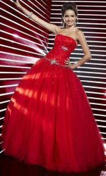 Красный шар Organza Платье вечернее платье Strapless Prom мини платье Леди Vestidos Gowns