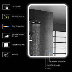 Salle de bains rétroéclairé par LED Miroir de courtoisie sur la touche de réglable Anti-Fog étanche IP44, verticale et horizontale