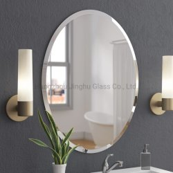 3mm 4mm 5mm 6mmのホーム浴室の装飾的な卸し売り壁に取り付けられたフレームのFramelessの平らな端の斜角端ミラー