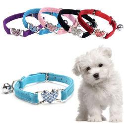 En forma de corazón ajustable Collar de Perro de Nylon Bell DOT Collar para perro gato mascota suave cordón para cuello