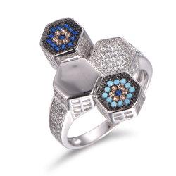 Dessins et modèles à six pans 925 Sterling Silver avec anneau Turquoise