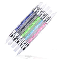 Las nuevas herramientas de uñas Nail Art grabado en hueco relieve Nail Art Pen lápiz de punta de gel de silicona Super suave Double-Head Pen con diamante