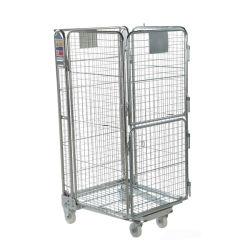 Fabricación jaula de almacenamiento de acero plegable de cojinetes altos/jaula de rodillos con rueda