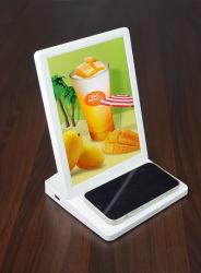 """휴대폰 충전기 무선 9.7"""" 디지털 사진 프레임 무선 충전 USB 충전기와 CMS Frameo가 있는 스마트 알람 시계"""