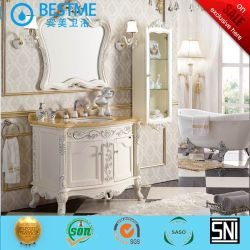 Hand Carving Pattern White Paiting Finish Badkamer Meubels (By -F8078)