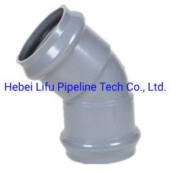 Standard di BACCANO dell'accessorio per tubi di pressione del PVC della giuntura del grande diametro del fornitore della Cina del tubo di plastica dell'accessorio per tubi UPVC e dell'anello di gomma dei montaggi per lo standard di BACCANO del rifornimento idrico