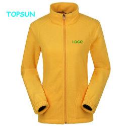 Custom plaine 100 % polyester tricoté Micro veste polaire polaire pour les femmes d'hiver de vêtements de sport de plein air