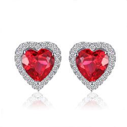 Commerce de gros 925 Sterling Silver bijoux créés Gemstone Ruby Earring bijoux Set