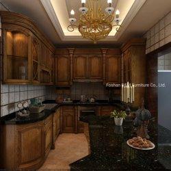Estilo europeu clássico de madeira maciça personalizados de madeira laca de armário de cozinha (DM1013)