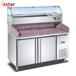 acier inoxydable réfrigérateur Commercial 1.35 mètres Pizza Double Table /Compteur Sushi