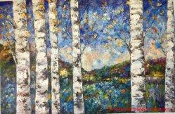 Большого размера гостиной синий березы пейзаж стены искусства Холст Картины маслом