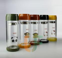 Double paroi en verre borosilicaté tasse de thé avec logo personnalisé