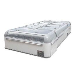 구부려진 유리 미닫이 문 자동 녹이는 섬 냉장고/급속 냉동 냉장실 고기 및 물고기