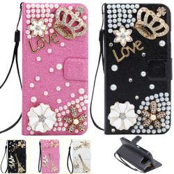 Wallet di cristallo Leather Phone Caso per Samsung S6/S6 Edge con Diamond