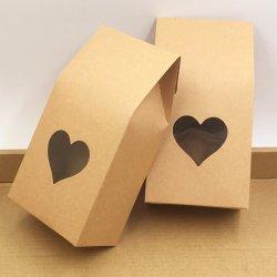 Крафт-бумаги стороной/свадебный подарок мешки, пирожные и шоколад и конфеты Упаковка Мешки встать продовольственной удалите уплотнение окна из ПВХ ящики 8*16*5 см