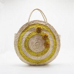 Dame de la paille ronde sac à main en osier sac fourre-tout en rotin avec la mode Raphia Poms POM