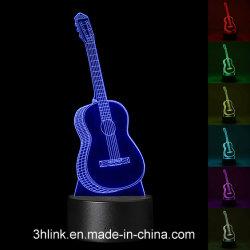 子供の部屋の装飾のための3Dギターの形の錯覚夜ライト