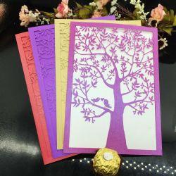 La Bourgogne poche découpé au laser les invitations de mariage fleur mariage personnalisé Tri-Folded anniversaire invitation Carte avec enveloppe