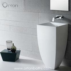 تصميم عصري، طبقة واحدة من الأكريليك المستزِد من حجر، على سطح صلب حوض استحمام مربع