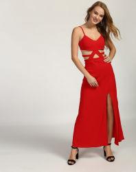 Новейшая мода красного цвета на отключение Split долго платья Maxi Spreader