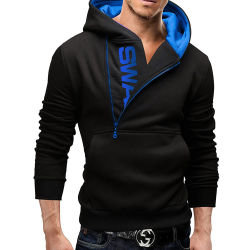 Blusa Esportiva personalizada Blusa com capuz Tecido atoalhado francês preto com fecho de correr
