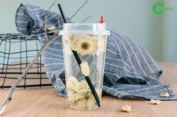 Fleur de thé de lait froid jetables PP des verres en plastique avec couvercles