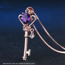 Amethist 925 van het Kristal van de Traan van de Juwelen van de kroon Zeer belangrijk de Echte Zilveren Halsband van de Tegenhanger