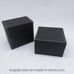 Schwarzer Leatherette-Papier-Schmucksache-Kasten kann kundenspezifisches materielles Größen-Firmenzeichen sein