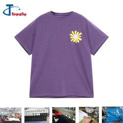 OEM/ODM 광저우 여자 또는 소녀 자주색 짧은 소매 너무 크은 티 셔츠