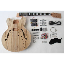 Spalted Maple es d'origine 335 Kit Guitare DIY inachevée