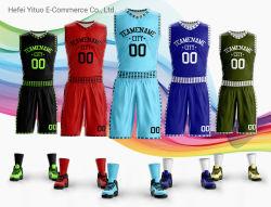 Remise en polyester personnalisé d'impression complète de multiples couleurs maillots de basket-ball des chemises