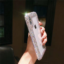 En gros accessoires pour téléphones mobiles de décoration de diamant transparent couvercle de boîtier de bouclier pour l'iPhone x