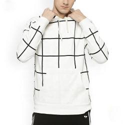 OEMは白いカスタム人および黒い点検されたフード付きのスエットシャツを整備する