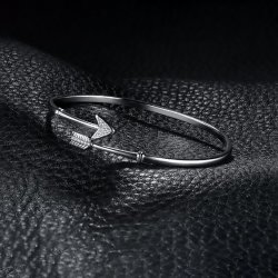 925 Sterling Silver Bracelets Bracelets en forme de flèche le brassard ouvert Bangles