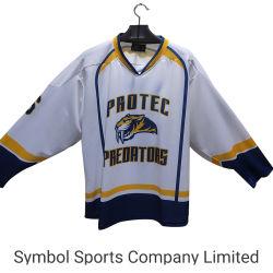 La broderie personnalisée des chandails de hockey de sublimation de l'équipe avec le nom et de numéros