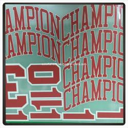 Футбол Джерси печати Die Cut надписи и номер на наклейке Custom футболка с логотипом команды передачи тепла патч