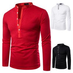 Fabricante do elegante mangas longas Botões Casual camisa Polo de algodão