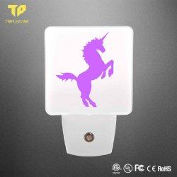 Decoración regalo 7 LED de color 3D del sensor de luz nocturna Lampara de pared