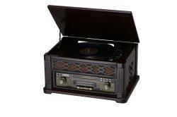 Grammofono di alta qualità, fonografo, riproduttore di CD, casella di legno, radio