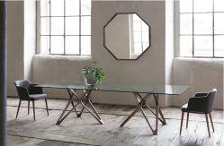 新しいデザインガラスダイニングテーブルの方法ホテルまたはホーム家具の灰の純木ベース