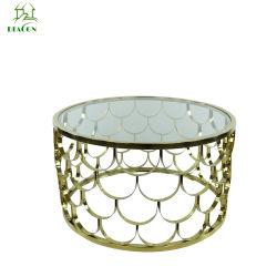 Tabella di tè di lusso del caffè dell'oro dell'acciaio inossidabile del piedino della parte superiore moderna di vetro Tempered