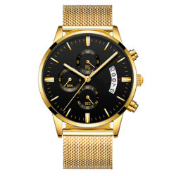 Les hommes de luxe Business Watch maille en acier inoxydable bracelet montre à quartz watch Calendrier