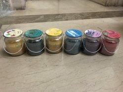 Velas Aromáticas con frutas naturales Los aceites esenciales la cumplimentación de la junta de la etiqueta de fragancia de vidrio de linterna de la parte superior con asa de color