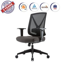 Alta giratoria ergonómica de malla Silla de escritorio con Apoyacodos regulables en altura y apoyo lumbar respaldo tapizado para oficina en casa (XDD3-C).
