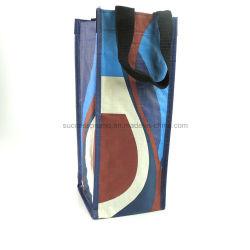 Tejida PP portador de la bolsa de compradores de vino botellas de cerveza de la bolsa de tejido