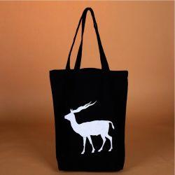 Черный хлопок калико магазинов рекламных женская сумка с белыми индивидуального логотипа печати