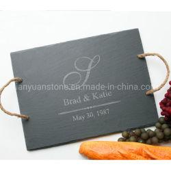Pizarra Piedra Natural vajilla grabado de placas de piedra de pizarra negra para la alimentación