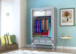 Drie Ladeboxen geen gereedschap montage draagbare kleding Kleding roldeur Wardrobe met hangende rek Non-Woven Fabric Storage Organizer